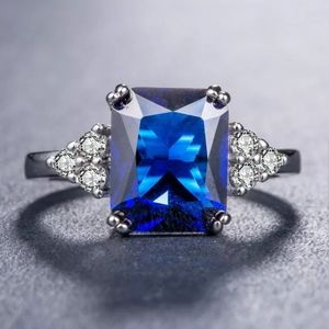 New stamped sterling silver blue sapphire ring